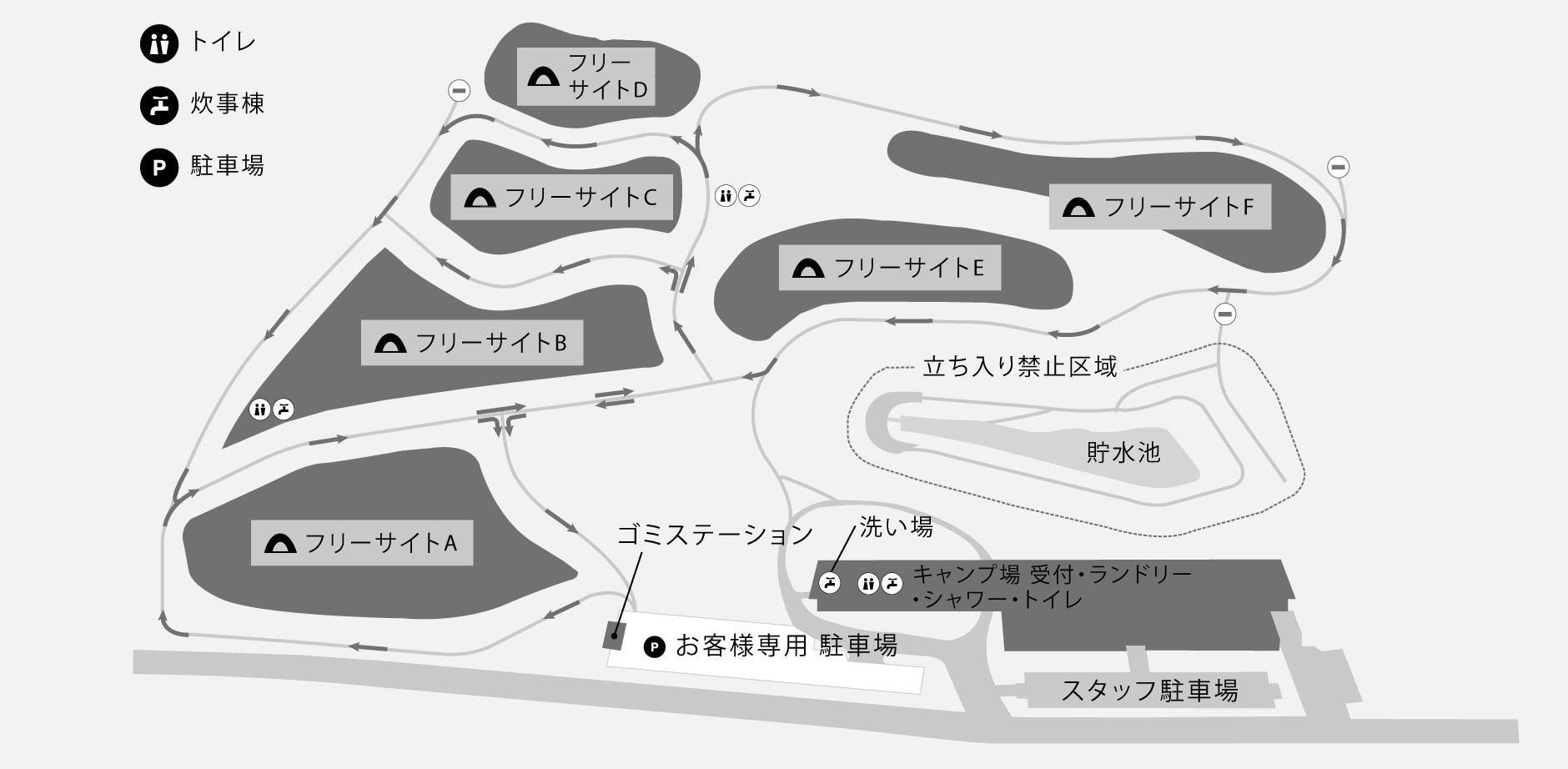 スノーピーク本社キャンプ場マップ